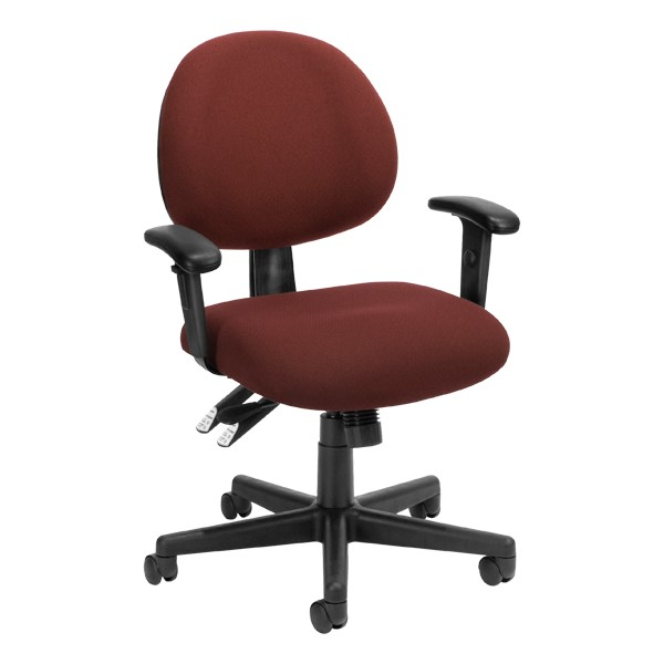 24-Hour Multi-Shift Task Chair w/ Arm Rests - Burgundy
