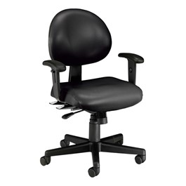Antimicrobial 24-Hour Use Task Chair w/ Arm Rests - Black