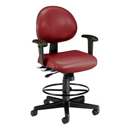 Antimicrobial 24-Hour Use Drafting Stool w/ Arm Rests - Wine