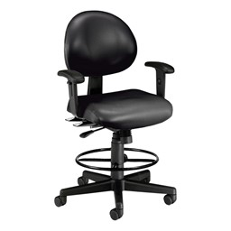 Antimicrobial 24-Hour Use Drafting Stool w/ Arm Rests - Black