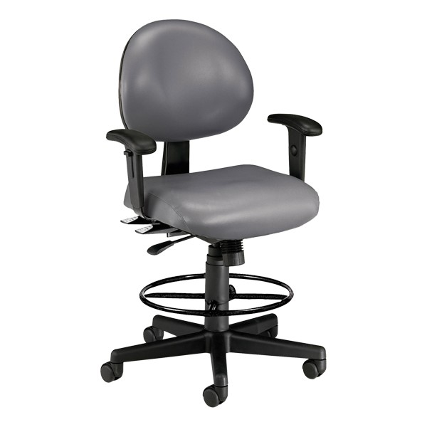 Antimicrobial 24-Hour Use Drafting Stool w/ Arm Rests - Charcoal