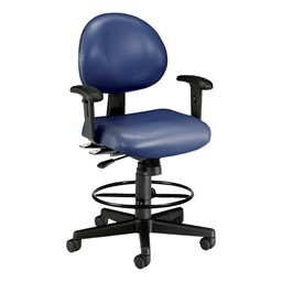Antimicrobial 24-Hour Use Drafting Stool w/ Arm Rests - Navy