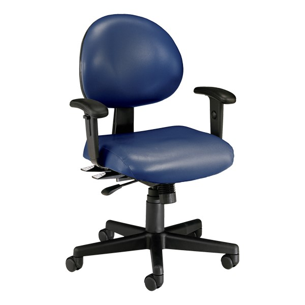 Antimicrobial 24-Hour Use Task Chair w/ Arm Rests - Navy