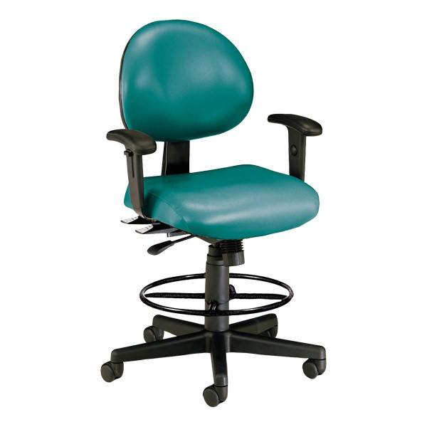 Antimicrobial 24-Hour Use Drafting Stool w/ Arm Rests - Teal