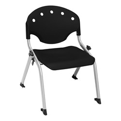 "Lightweight Rico Plastic Stack Chair (17 3/4"" Seat Height) - Black"