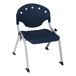 "Lightweight Rico Plastic Stack Chair (17 3/4"" Seat Height) - Navy"