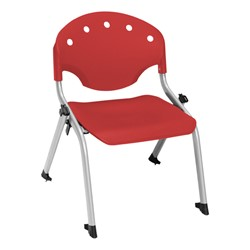 "Lightweight Rico Plastic Stack Chair (17 3/4"" Seat Height) - Red"
