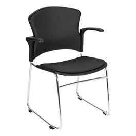 Multi-Use Padded Plastic Stack Chair w/ Arm Rests - Black