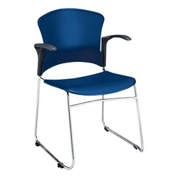 Multi-Use Plastic Stack Chair w/ Arm Rests - Navy