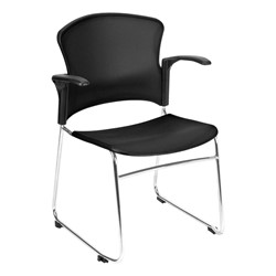 Multi-Use Plastic Stack Chair w/ Arm Rests - Black
