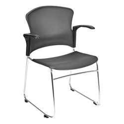 Multi-Use Plastic Stack Chair w/ Arm Rests - Gray