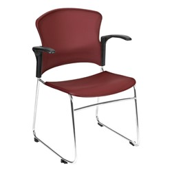 Multi-Use Plastic Stack Chair w/ Arm Rests - Wine