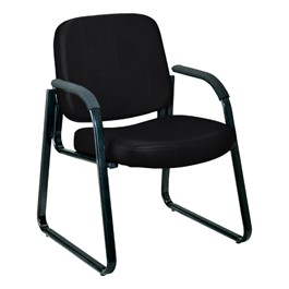 Antimicrobial Vinyl Waiting Room Chair w/ Arm Rests - Black