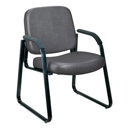 Antimicrobial Vinyl Waiting Room Chair w/ Arm Rests - Charcoal