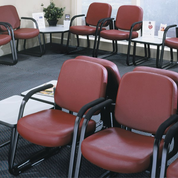 Antimicrobial Vinyl Waiting Room Chair w/ Arm Rests - Multiple units shown
