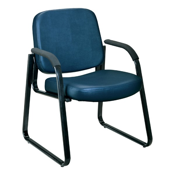 Antimicrobial Vinyl Waiting Room Chair w/ Arm Rests - Navy