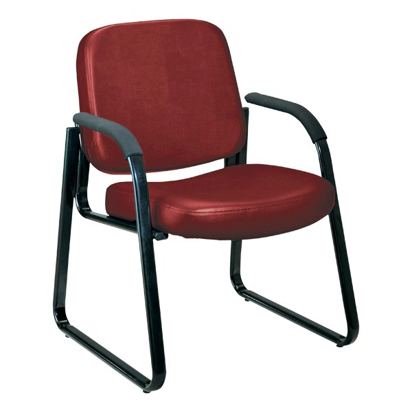 Antimicrobial Vinyl Waiting Room Chair w/ Arm Rests - Wine