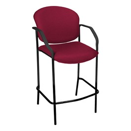 Stain-Resistant Fabric-Upholstered Cafe Stool w/ Arm Rests - Wine