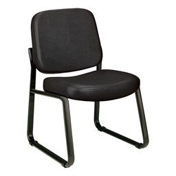 Antimicrobial Vinyl Waiting Room Chair w/out Arm Rests - Black