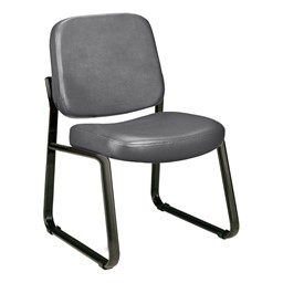 Antimicrobial Vinyl Waiting Room Chair w/out Arm Rests - Charcoal