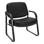 Big & Tall Antimicrobial Vinyl Guest Chair w/ Arms - Black