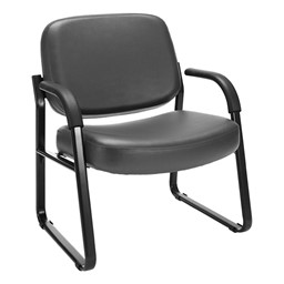 Big & Tall Antimicrobial Vinyl Guest Chair w/ Arms - Charcoal