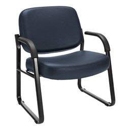 Big & Tall Antimicrobial Vinyl Guest Chair w/ Arms - Navy