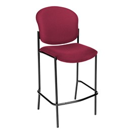 Stain-Resistant Fabric-Upholstered Cafe Stool w/out Arm Rests - Wine