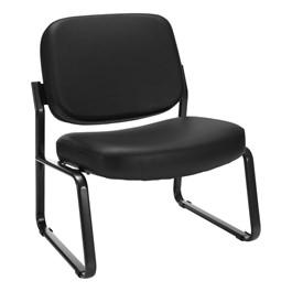 Big & Tall Antimicrobial Vinyl Guest Chair w/o Arms - Black