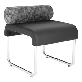 UNO Series Lounge Seating – Pillow Back Chair - Black seat / Nickel back