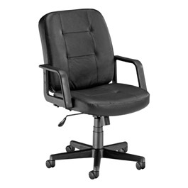Leather Task Chair - Mid Back - Black