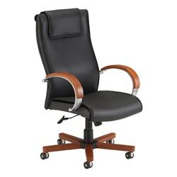 Fabulous Wood Accent High Back Leather Executive Chair Machost Co Dining Chair Design Ideas Machostcouk