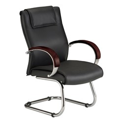 Wood Accent Leather Guest Chair - Mahogany
