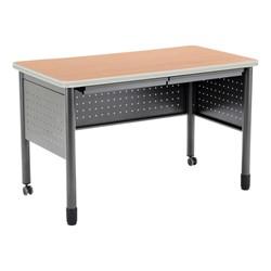 "Modular Teacher Desk w/ Two Pencil Drawers (48"" W x 26"" D) - Maple"