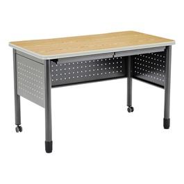"Modular Teacher Desk w/ Two Pencil Drawers (48\"" W x 26\"" D) - Oak"