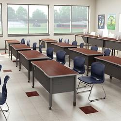 """Modular Teacher Desk w/ Two Pencil Drawers (48"""" W x 26"""" D) - Environmental Shot"""