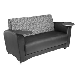 Lounge Seating w/ Tablet Arm - Loveseat - Nickel back w/ black seat