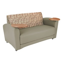 Lounge Seating w/ Tablet Arm - Loveseat - Plum back w/ taupe seat