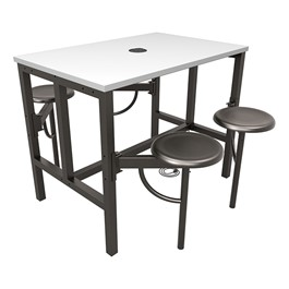 Endure Series Table w/ Whiteboard Top, Electrical Outlet & USB - 4 Stools - Dark Vein Metal Stools