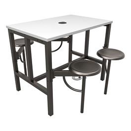 Endure Series Table w/ Whiteboard Top, Electrical Outlet & USB - 4 Stools - Dark Vein Metal Stools