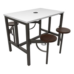 Endure Series Table w/ Whiteboard Top, Electrical Outlet & USB - 4 Stools - Walnut Stools