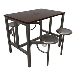 Endure Series Table w/ Laminate Top, Electrical Outlet & USB - 4 Stools - Dark Vein Metal Stools