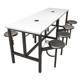 Endure Series Table w/ Whiteboard Top, Electrical Outlet & USB - 8 Stools - Dark Vein Metal Stools
