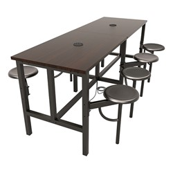 Endure Series Table w/ Laminate Top, Electrical Outlet & USB - 8 Stools - Dark Vein Metal Stools