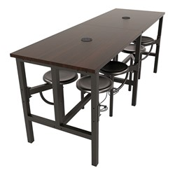 Endure Series Table w/ Laminate Top, Electrical Outlet & USB - 8 Stools - Chairs folded