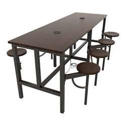 Endure Series Table w/ Laminate Top, Electrical Outlet & USB - 8 Stools - Walnut Stools