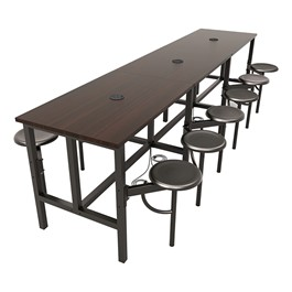 Endure Series Table w/ Laminate Top, Electrical Outlet & USB - 12 Stools - Dark Vein Metal Stools