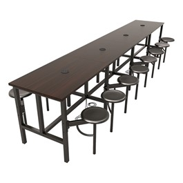 Endure Series Table w/ Laminate Top, Electrical Outlet & USB - 16 Stools - Dark Vein Metal Stools