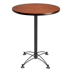 Elegant Round Stool-Height Café Table - Cherry top & chrome frame