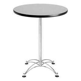Elegant Round Stool-Height Café Table - Gray Nebula top & chrome frame